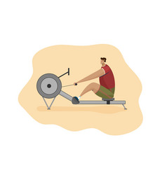 Character man rower on rowing machine flat vector