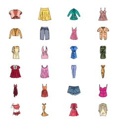 Clothes Hand Drawn Colored Icons 1 vector