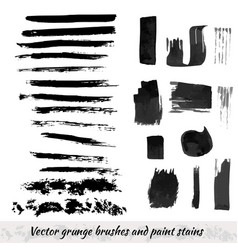 collection with grunge brush strokes and paint vector image