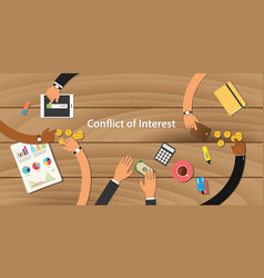 conflict of interest team work together with hand vector image