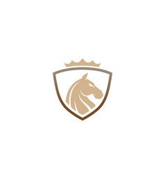creative horse shield crown logo design symbol vector image