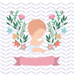 Cute bawith leaves and flowers design vector