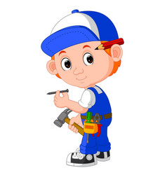 Cute carpenter cartoon vector