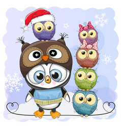 Cute cartoon penguin and five owls vector