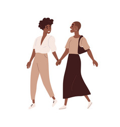 Cute homosexual couple walking together isolated vector