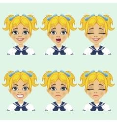 Cute schoolgirl and facial expression set vector