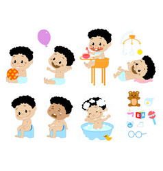 different baby boy poses and accesories vector image