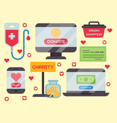 Donate money box set symbols help philanthropy vector