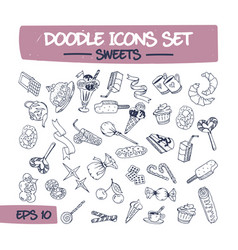 doodle icons set of sweets and pastries vector image