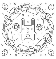 Easter wreath rabbit coloring page vector