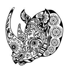 entangle one-horned rhinoceros vector image