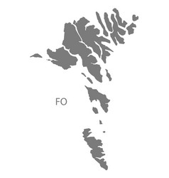 Faroe islands map grey vector