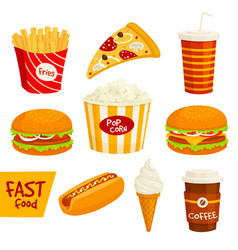 Fast food sandwich drink snack icon set vector