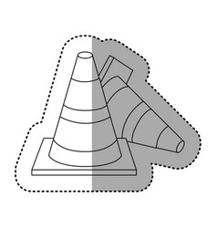 Figure cones of fallen traffic icon vector