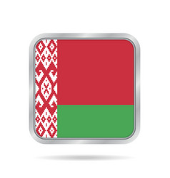 Flag of belarus shiny metallic gray square button vector
