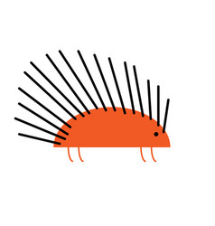 flat design cute porcupine cartoon icon vector image