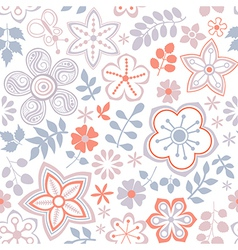 Floral endless pattern in pink Ornate floral vector