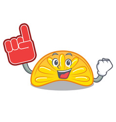 Foam finger orange jelly candy mascot cartoon vector