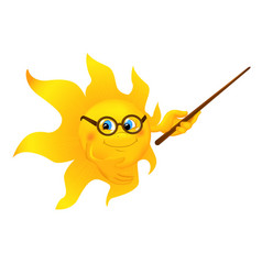 Funny cartoon sun pointing vector