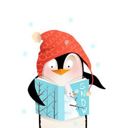 Funny penguin reading book in winter kids vector