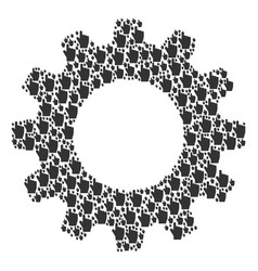 Gear wheel mosaic of index finger icons vector