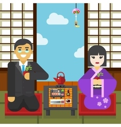 Geisha and businessman tea ceremony vector