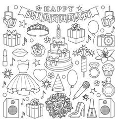 Girl birhtday doodle set vector