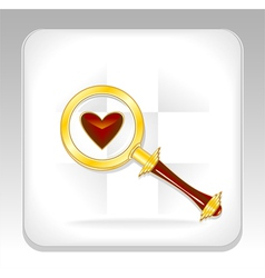 Gold magnifier icon or button with heart vector image