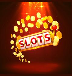 Golden slots machine wins jackpot vector
