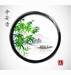 green bamboo trees island with mountains and vector image