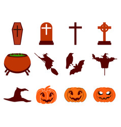 Halloween icon set flat isolated on white vector