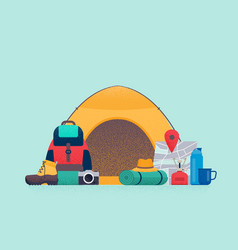 hiking concept equipment for camping vector image
