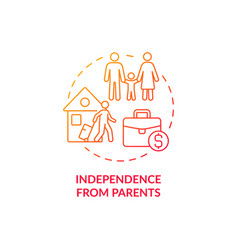 Independence from parents red concept icon vector