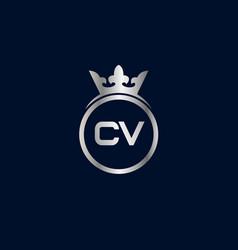 initial letter cv logo template design vector image