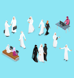 isometirc saudi businessmens arab man and woman vector image