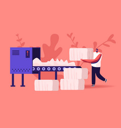 Man textile factory worker put raw cotton material vector