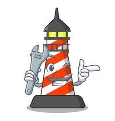 Mechanic classic cartoon lighthouse of red vector