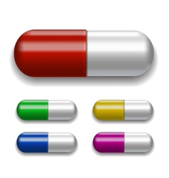 Medical pills set different colors vector