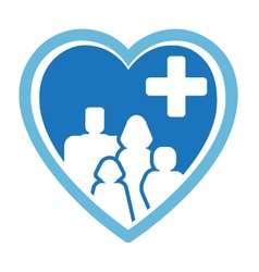 Medicine icon with family on heart vector