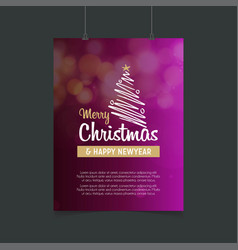 merry christmas line tree and happy new year vector image