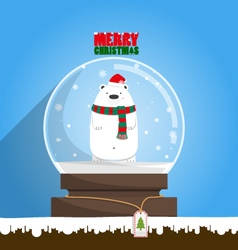 Merry Christmas white polar bear in snow globe vector image