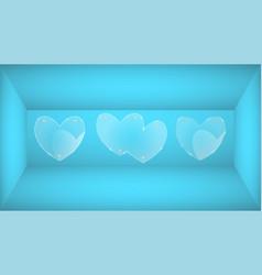 Modern glass heart on blue background vector