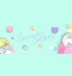 Mother day web banner of pink paper art flowers vector