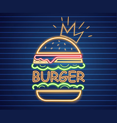 neon king burger poster glowing sign vector image