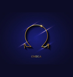 omega sign gold logo golden greek letter icon vector image