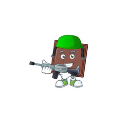 One bite chocolate bar carton character in an army vector