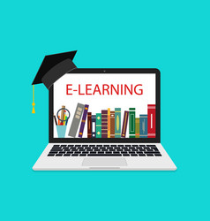 online education in laptop school library in vector image