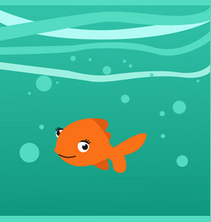 orange fish underwater in blue background vector image