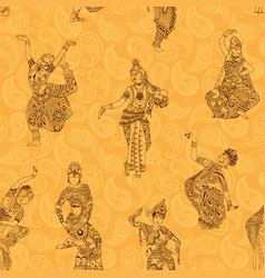 pattern with indian dancers vector image