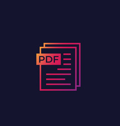 Pdf document icon for web and apps vector
